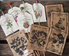 Garden Party Wedding Seed Packets Name Stakes Plant Stakes