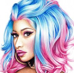 A Drawing of Nicki Minaj w/ Cotton Candy color in her hair