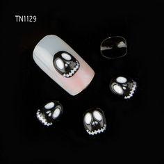 60pcs/lot New 2015 Luxury Black Skull Nail Tools Rhinestones For Nails Alloy Glitter 3D Nail Art Decorations TN129