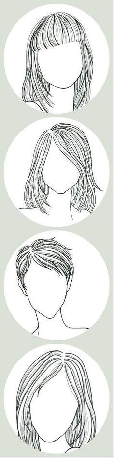 Trendy Hair Drawing Tips Face Shapes Drawing Lessons, Drawing Techniques, Art Lessons, Poses References, Cool Haircuts, Straight Haircuts, Straight Bob, How To Draw Hair, Art Tips