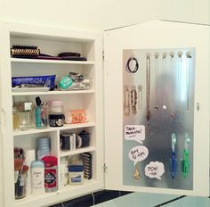 diy magnetic sheet for more storage space in your medicine cabinet | bathroom organization #medicine #cabinets #organization
