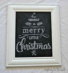 Christmas chalkboard art . This would make a great gift. I would love to create this using vinyl and my #Cricut