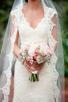 Just adore this pink bouquet, filled with peonies and garden roses! Image by http://hollygardner.com, floral design by  Celestine's Special Occasions, via http://theeverylastdetail.com/classic-blush-and-gold-florida-wedding/
