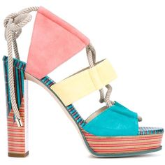 Jimmy Choo Halley 120 Sandals (3.447.000 COP) via Polyvore featuring shoes, sandals, multicolour, open toe shoes, colorful sandals, multi color sandals, multi colored shoes and open toe platform sandals