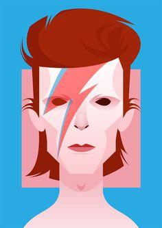 David Bowie por Stanley Chow, um artista inglês que faz ilustrações caricaturais de diversos personagens e personalidades de uma maneira pouco usual, não se utilizando do exagero das formas. Os desenhos de Chow são minimalistas, mas não deixam de ser caricatura por isso. Os poucos traços e a paleta de cores vivas são marcantes na obra de um artista que dá prioridade à plasticidade da simplificação.