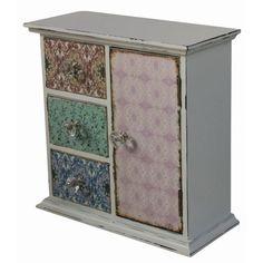 Minischrank mit 1 Tür und 3 Schubladen bunt 30 x 30 x 13 cm #Landhaus-Stil #möbel