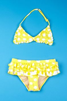 Yellow polka-dot bikini?? How cute is that?