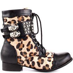 Wild Child Combat Boot - Leopard by Abbey Dawn