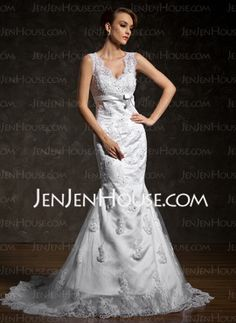 Mermaid V-neck Court Train Satin  Lace Wedding Dresses With Beadwork (002011524)