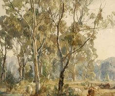 Buy online, view images and see past prices for § HANS HEYSEN Young Gums, Ambleside watercolour on paper x cm. Invaluable is the world's largest marketplace for art, antiques, and collectibles. Watercolor Trees, Watercolor Artists, Watercolor And Ink, Artist Painting, Artist Art, Artist At Work, Watercolour Painting, Watercolors, Australian Painting