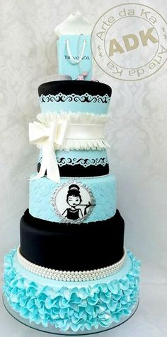 Breakfast at Tiffany's Themed Multi-Tiered Cake