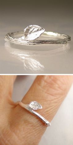 It's a leaf ring! I don't know what a rock ring would look like... I guess you could call any gem a rock! BFF rings!