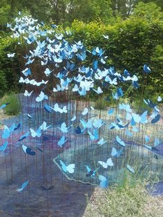 Garden sculptures, use old bike rims, bend the spokes up, place the butterflies.  You can move them around then and take them in for the winter.