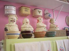 Vintage kitchenalia displays at Jazze Junque