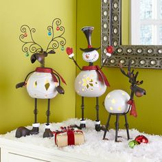 Bobblehead Snowman Tealight Holders
