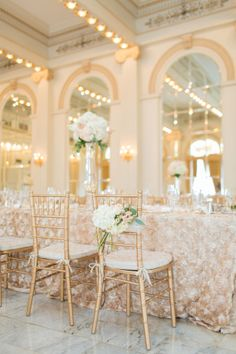 Ivory, Blush, and Gold Reception Decor | photography by twomaries.com | floral design by www.flowersonspri...