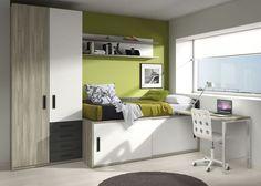 young room   dormitorio juvenil con cama compacta de puertas correderas, armario y zona de estudio y trabajo www.moblestatat.com horta barcelona: