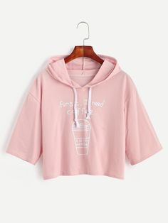 Pink Coffee Cup Slogan Print Drawstring Hooded T-shirt