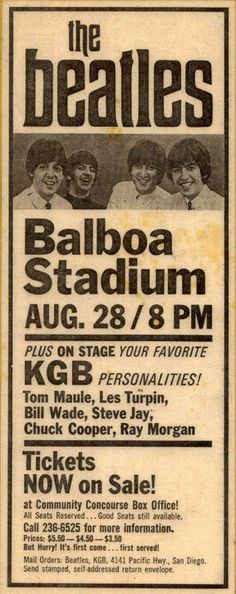 Advertisement for the 1965 Beatles Concert in San Diego