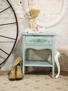 Painted Cottage Chic Shabby Aqua Romantic by paintedcottages, $120.00