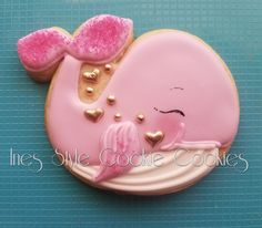 Pink Whale Whale Cookies, Fish Cookies, Fancy Cookies, Iced Cookies, Cute Cookies, Cupcake Cookies, Whale Cupcakes, Galletas Decoradas Royal Icing, Summer Cookies
