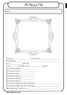 All about me - free worksheet