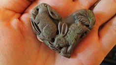 Carved Ribbon Jasper Rabbit Heart Pendant / Focal Bead