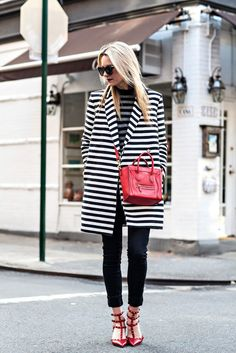 fall outfit idea - stripe coat + red bag and heels
