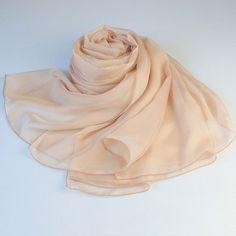 Peach Puff Silk Scarf - Navajo White Mulberry Silk Chiffon Scarf - AS2