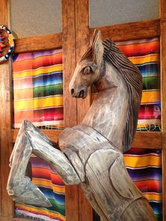 Hand carved Mexican horse sculpture. Mexico Resorts, Mexico Vacation, Ranch Vacations, Guest Ranch, Horse Sculpture, Mexican Art, Horseback Riding, Hand Carved, Carving