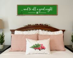 and to all a good night painted wood sign | MORE COLORS | farmhouse Christmas decor | master bedroom wall decor | Christmas wall decor