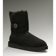 UGG Women's Sheepskin Mid-Calf Bailey Button Black Boots