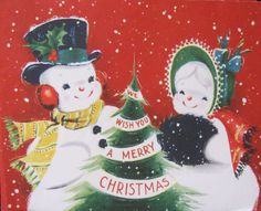 Vintage Christmas Card Snowman Couple Mr Mrs Muff Hat Tree Sunshine Greeting