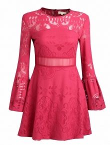 'Red Ruby' Lace Swing Dress Swing Dress, Skater Dress, Fashion Show, Two Piece Skirt Set, Dresses With Sleeves, Lace, Long Sleeve, Skirts, Red