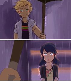 Adrienette rain and umbrella i loveeee this scene in the showw, its just to cute