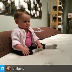 Ema is checking out our adult luxury ‪#‎organic‬ mattresses. Follow our @naturepedic4you  page to learn more!