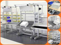 Varios puestos de trabajo unidos y construidos con perfil de aluminio y accesorios Minitec.