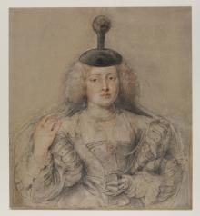black, red, and white chalk drawing of woman with dark headpiece