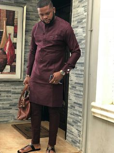 Dare African men kaftan, wedding outfits, danshiki Ankara design, with matching pant African Male Suits, African Wear Styles For Men, African Shirts For Men, African Dresses Men, African Attire For Men, African Clothing For Men, Nigerian Men Fashion, African Men Fashion, Mens Fashion