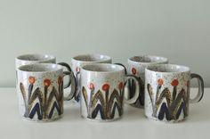 Set of 6 Vintage Japanese Stoneware Mugs. via Etsy.