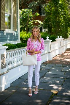 How perfect is our pink tassel tie tunic paired with crisp white?