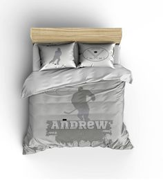 Custom Personalized Duvet or Comforter -Hockey player -available Twin, Queen or King Size - Any Color