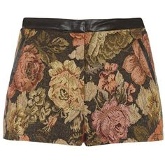 Parisian Black Leather-Look Trim Tapestry Floral Shorts ($26) ❤ liked on Polyvore featuring shorts, bottoms, pants, short, patterned shorts, floral print shorts, floral pattern shorts, print shorts and floral printed shorts