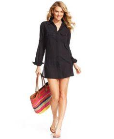 Lauren Ralph Lauren Semi-Sheer Tunic Cover Up    macys.com