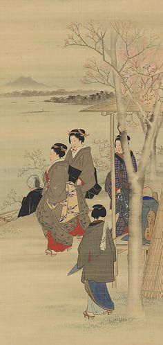 Women Strolling along the Sumida Riverbank, Utagawa Hiroshige (Japanese, Tokyo (Edo) 1797–1858