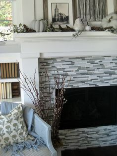 Glass Tile Fireplace | Here is a close up of our fireplace tile. My husband wanted glass tile ...