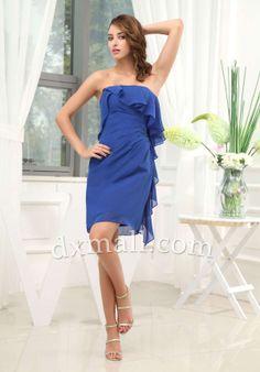 238e2123846 Sheath Column Party Dresses Strapless Short Mini Chiffon Royal Blue  050010400155 Empire Waist Bridesmaid