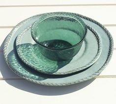 Rope Outdoor Dinnerware (melamine plates / dishes ), Turquoise #potterybarn