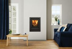 Buy Stovax Riva 40 Black Multi-fuel Wood Burning Stove from Fast UK Delivery and lowest prices guaranteed. Wall Gas Fires, Contemporary Gas Fireplace, Inset Stoves, Chimney Breast, Dining Room Colors, Wood Burner, Bedroom Styles, Modern Interior Design, Hearth