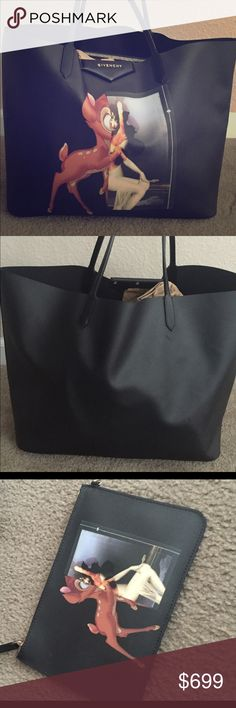 """Givenchy """"Bambi"""" Tote The highly coveted Bambi tote by Givenchy. 100% authentic. Coated canvas with leather straps. Has a detachable pouch. Some parts of the tote, mainly in the back has some of the coating lifting but not peeling. It just looks like white spots. I've attached a few pics. Some of those spots I tried covering up with permanent marker. Selling as is. See other listing in my closet for more photos. I try to capture everything with this bag. If more pics are needed I can email…"""